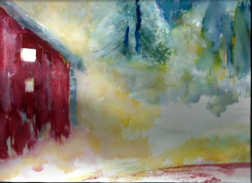 Red Cabin in Winter